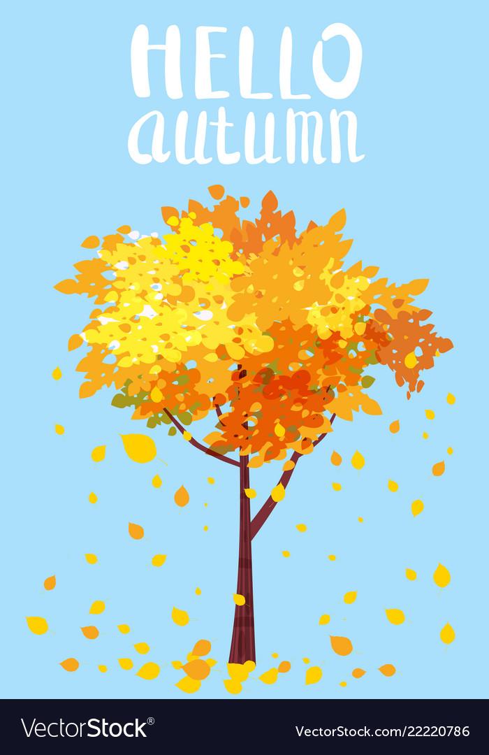 Hello autumn lettering autumn tree with sending