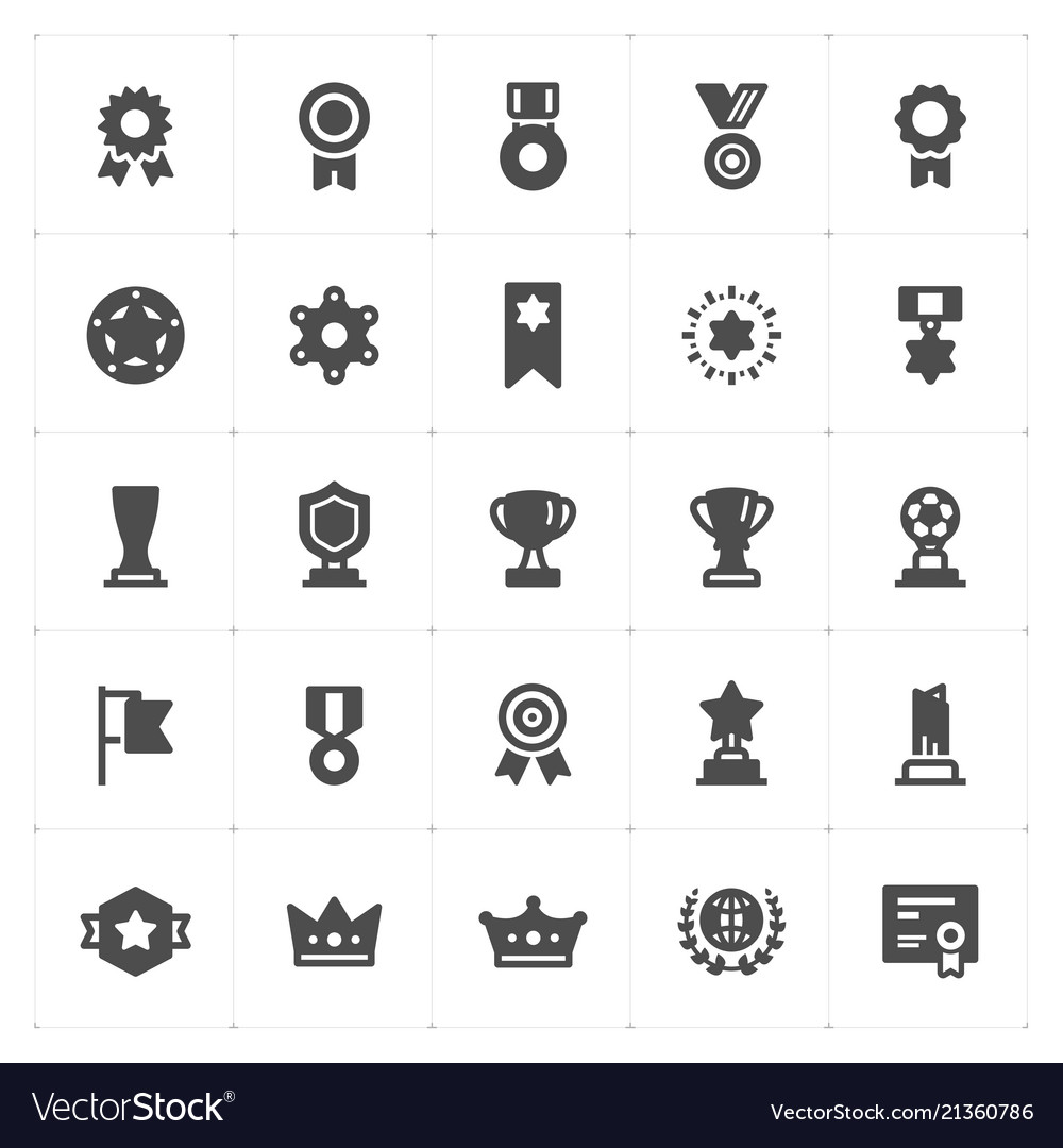Icon set - trophy and awards filled icon style