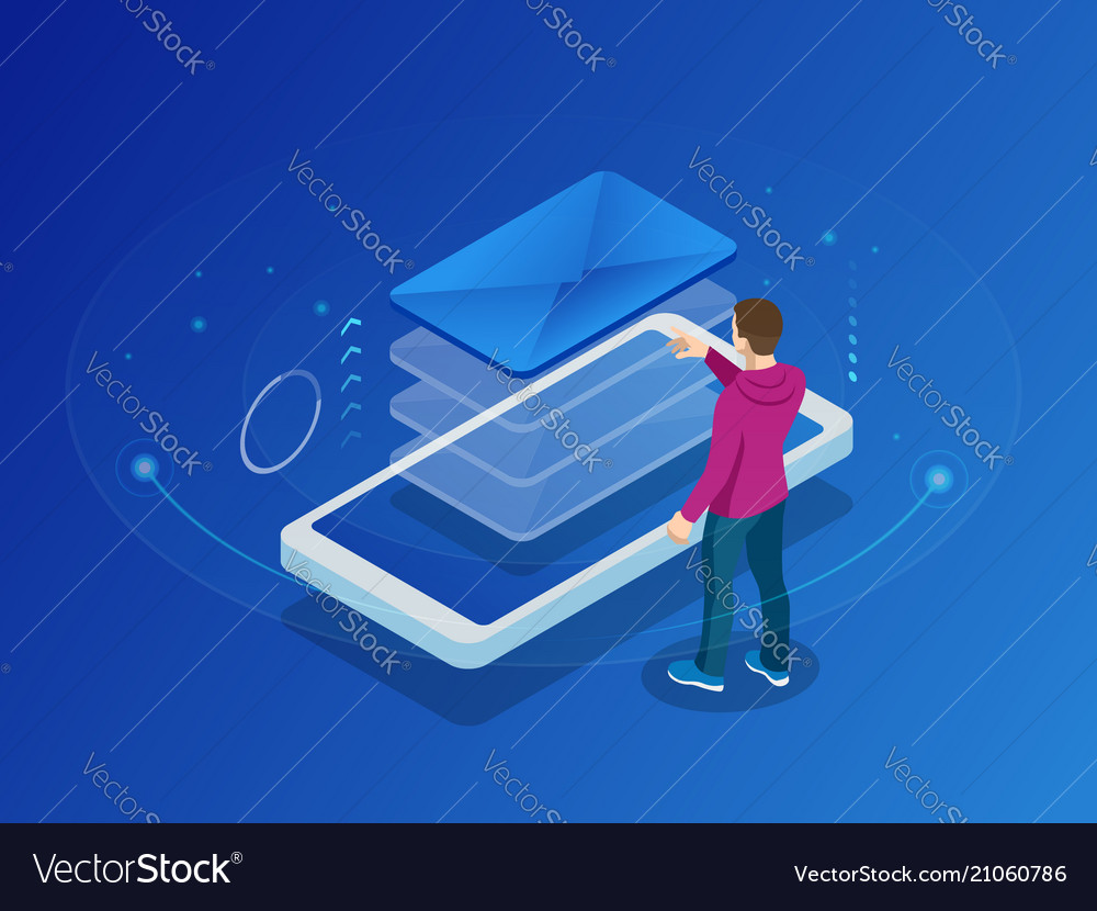 Isometric message online chat social text concept