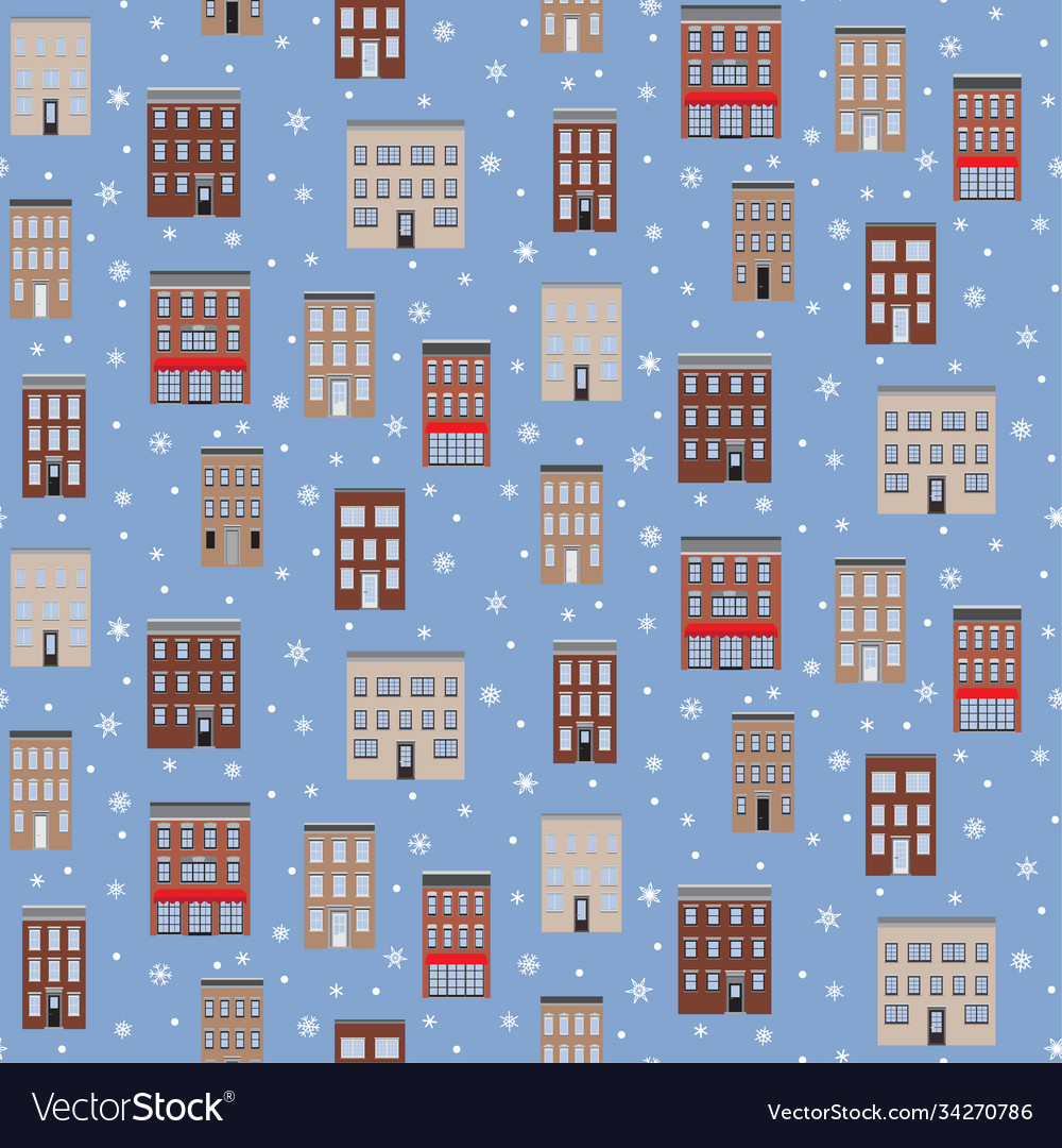 Old houses winter seamless pattern flat