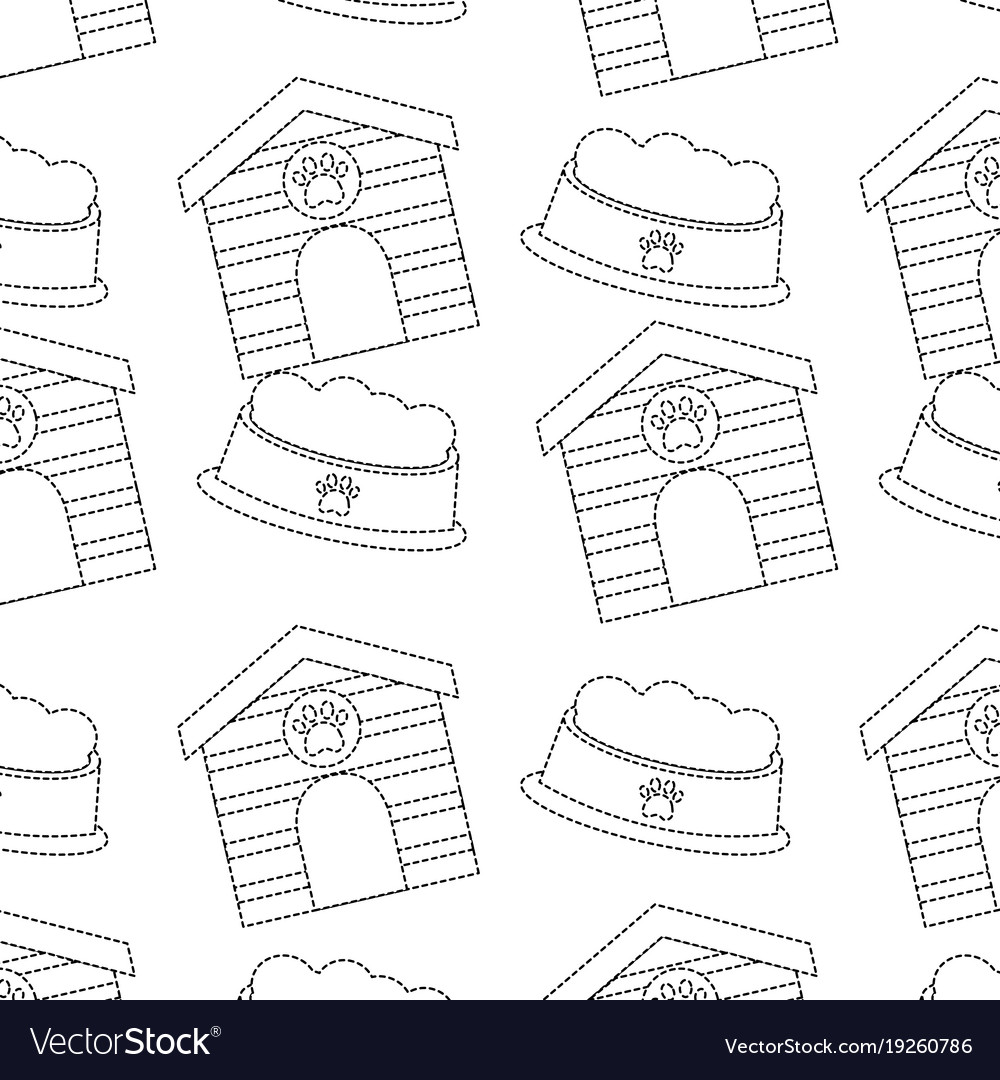 Pet house and bowl food animal seamless pattern