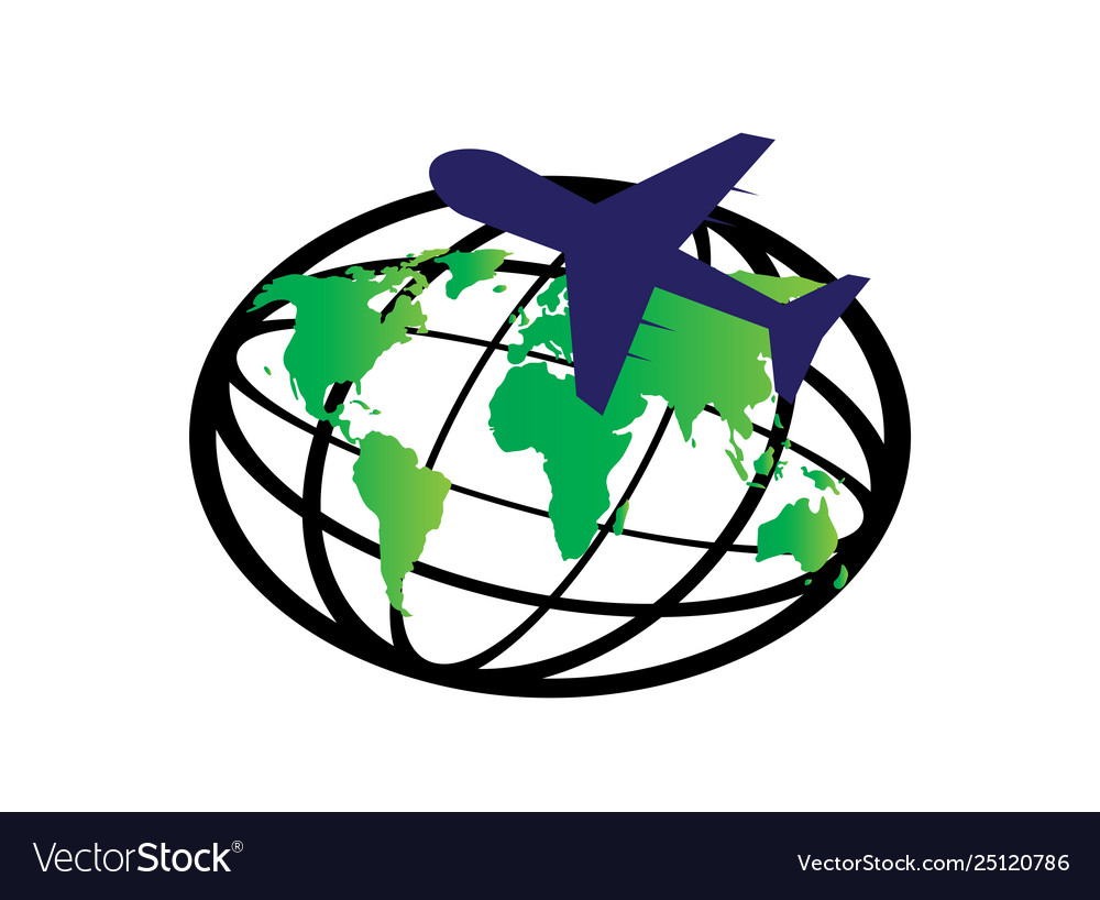 Planet map and plane around world for logo