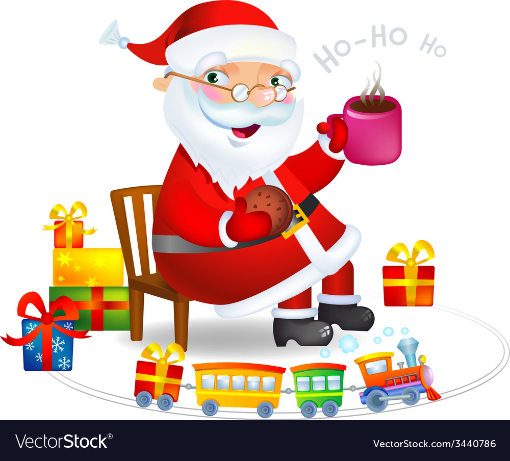 Santa Claus With A Hot Tea And Cookies