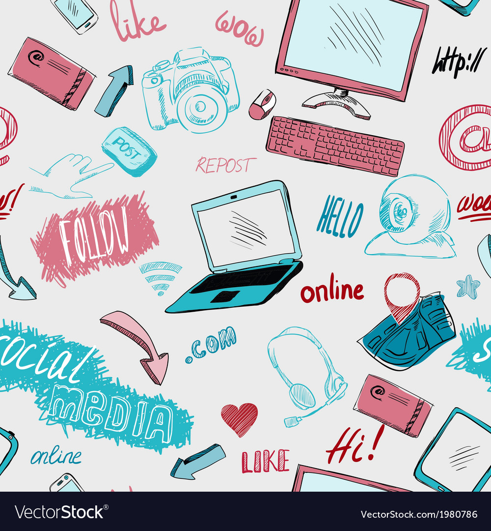 Seamless doodle social media background