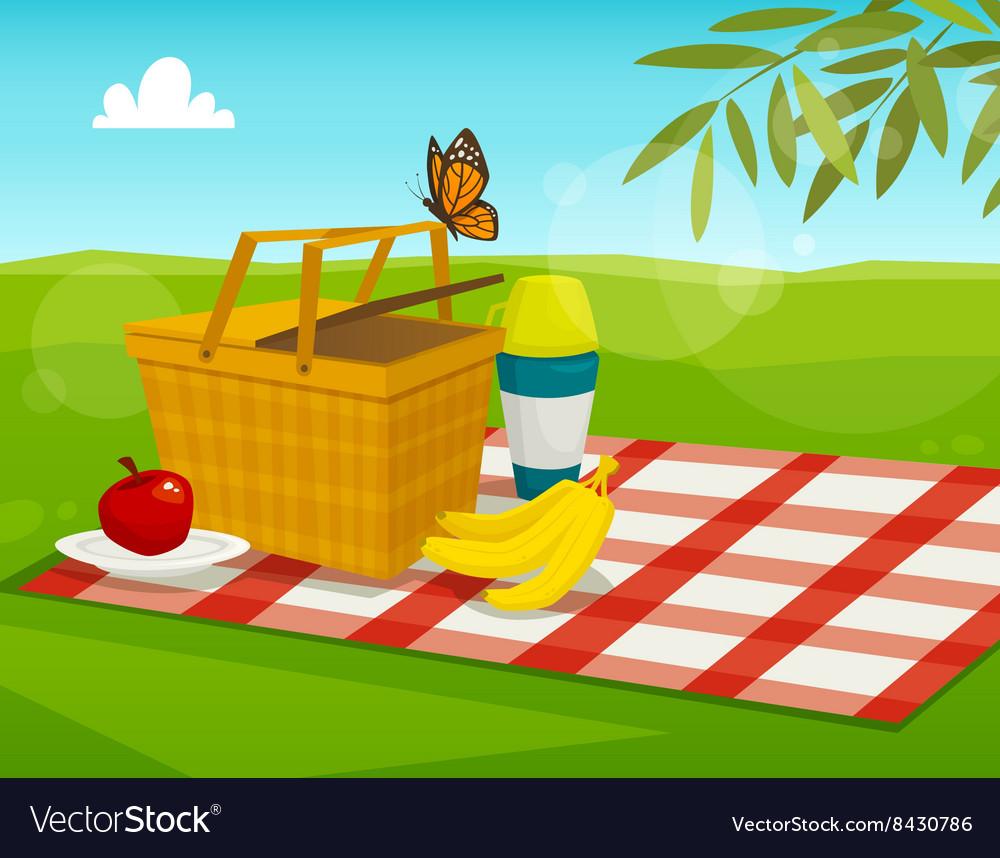 bfab73f2cd4d Summer picnic with park landscape cartoon basket Vector Image