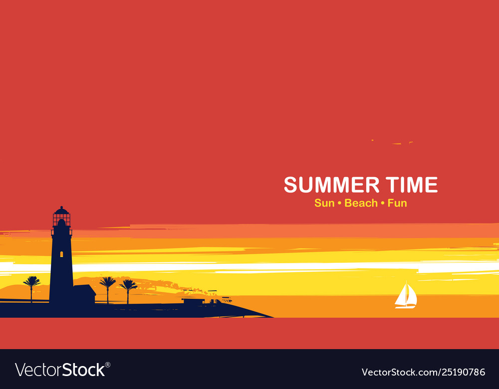 Travel banner with lighthouse palms and sailboat