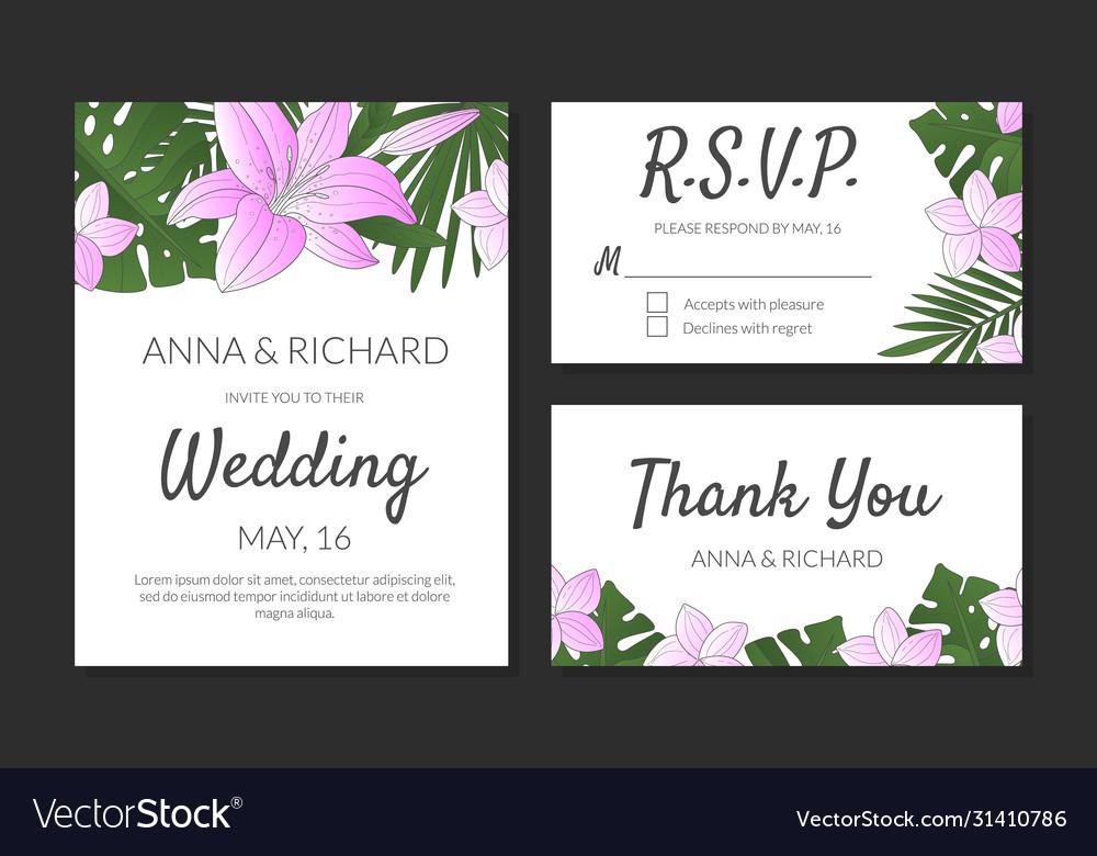 Wedding invitation thank you rsvp card design