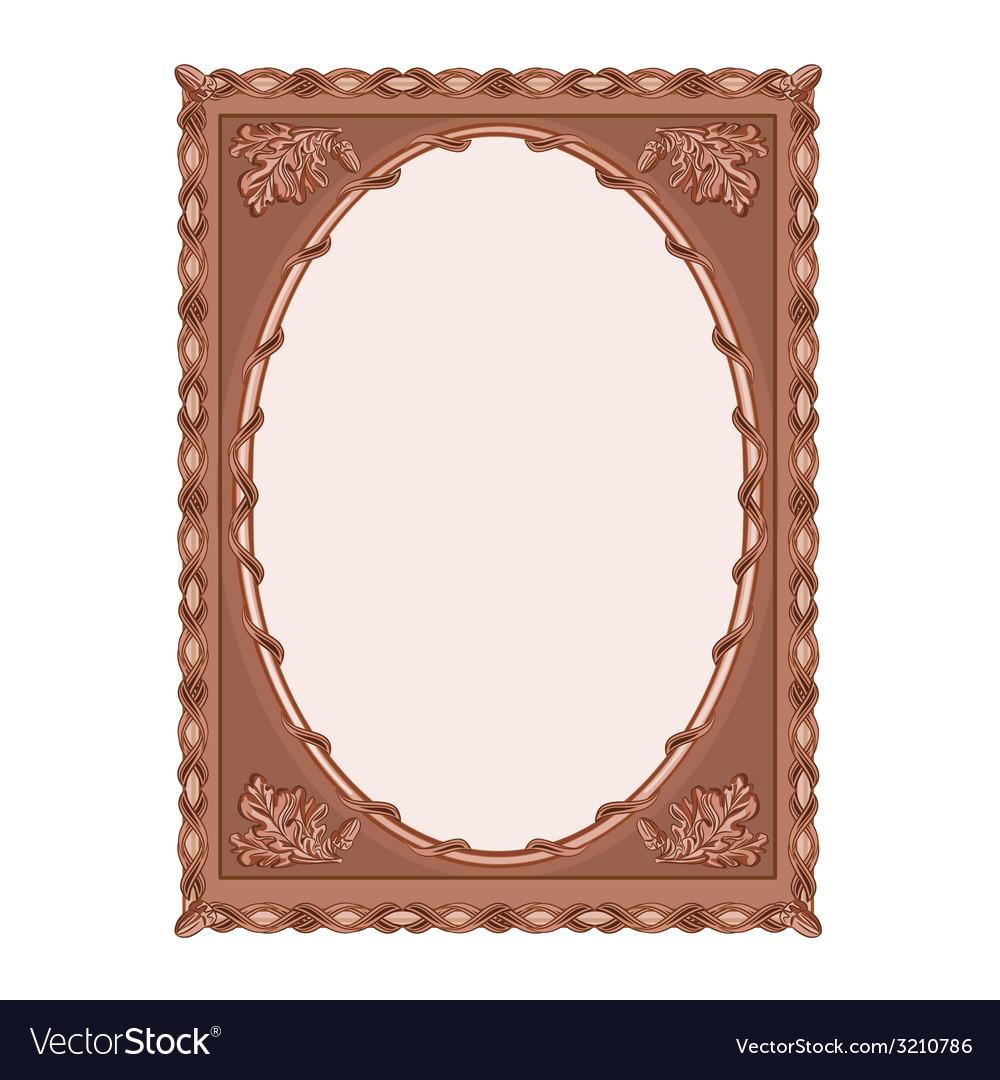 Wooden frame carved oak leaf vintage
