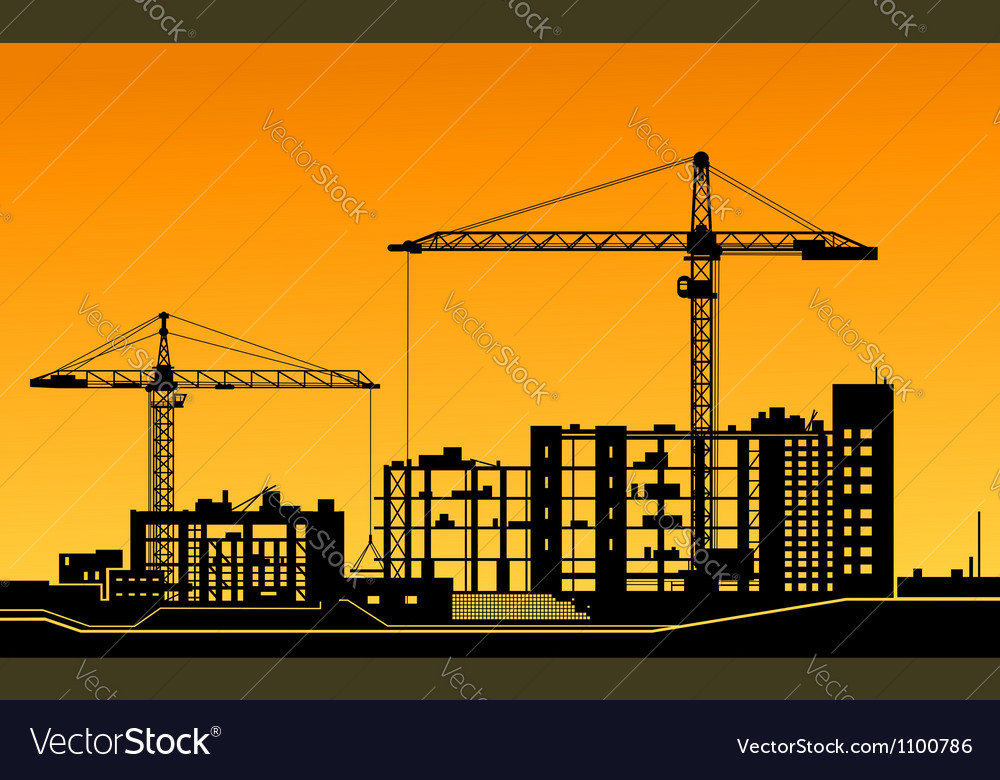 Working cranes on construction site