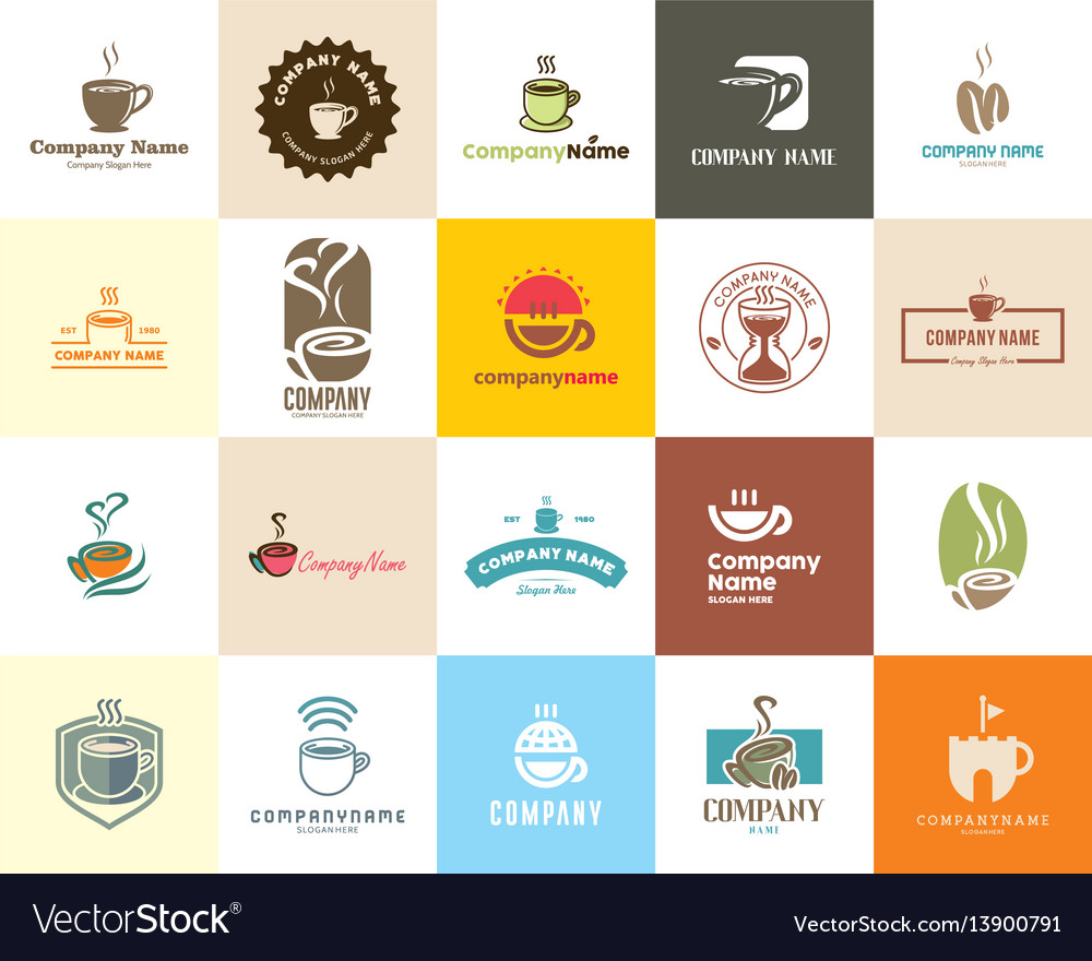 20 high quality coffee cafe tea shop logo pack