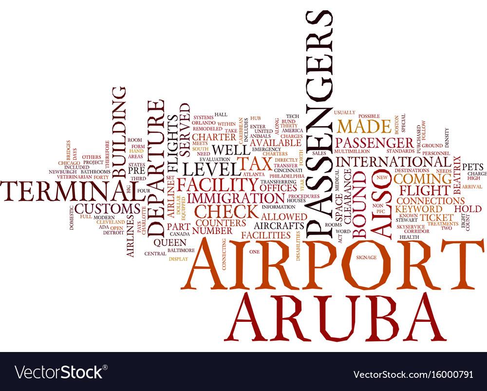 Arubas airport text background word cloud concept