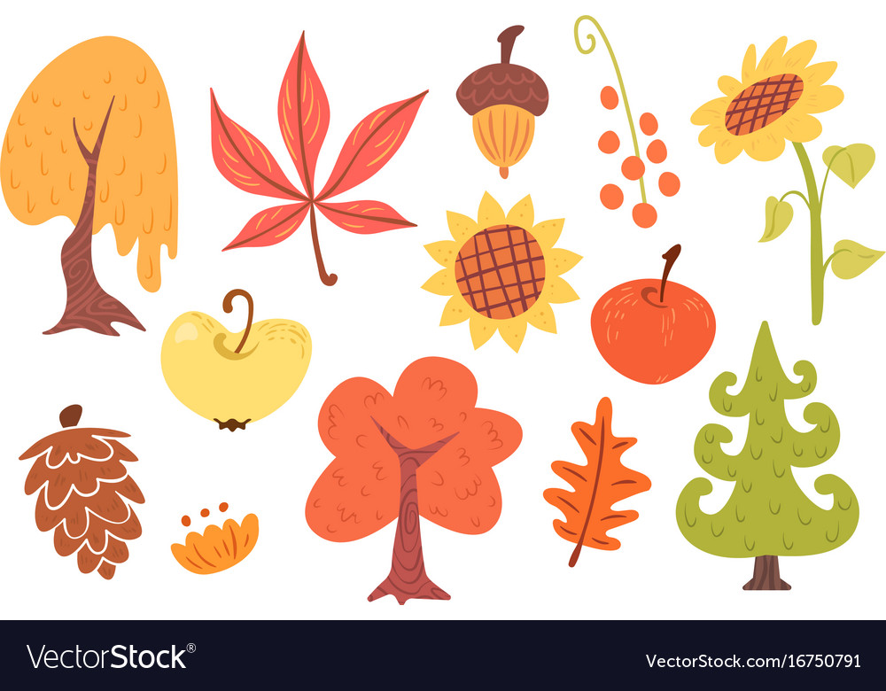 Autumn cartoon set of plants