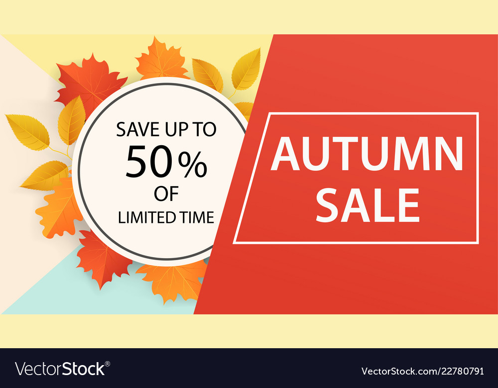 Autumn sale banner design from leaves