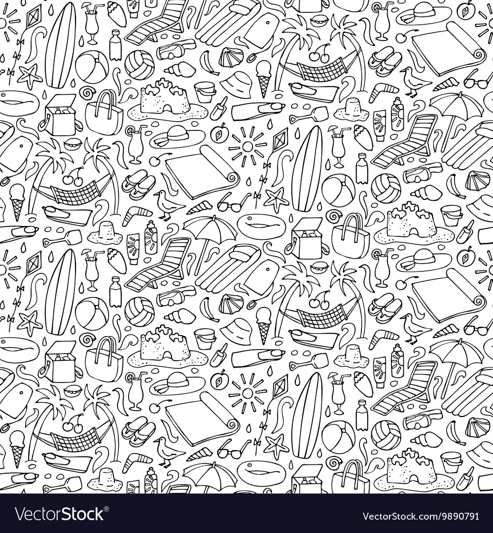 Beach doodle seamless pattern