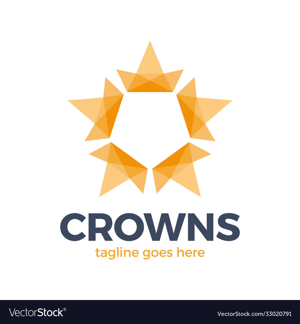 Crown star logo design concept connected loop