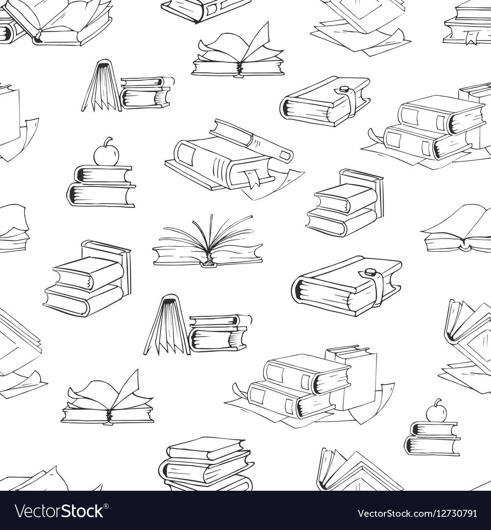 Doodle library book seamless pattern