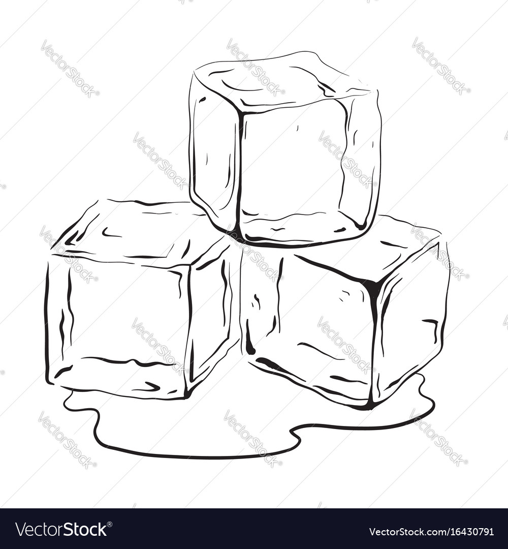 hand drawn ice cubes royalty free vector image vectorstock