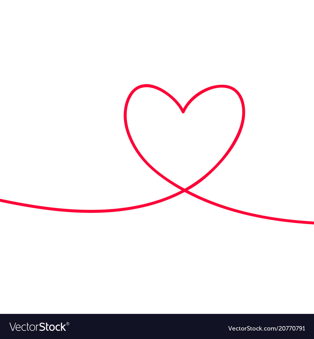 Heart in continuous drawing lines continuous
