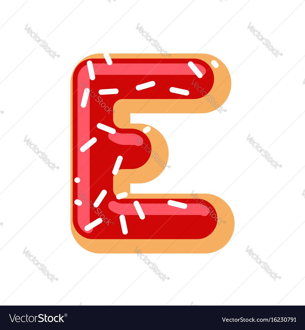 Letter e donut font doughnut alphabet sweet vector image altavistaventures Images