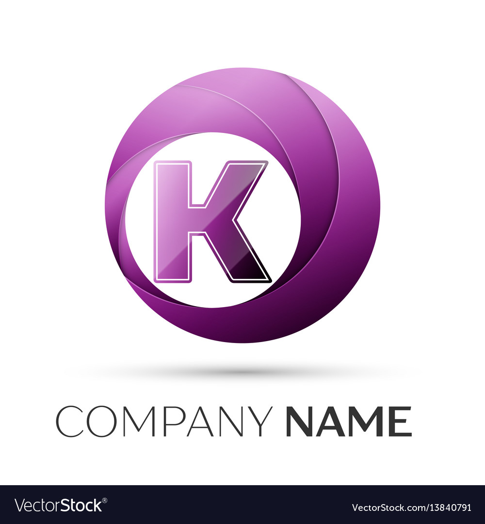 Letter K Logo Symbol In The Colorful Circle On Vector Image