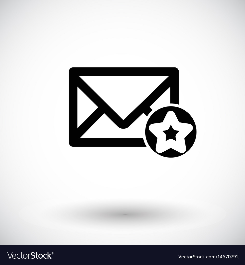 Mail icon envelope with star sign