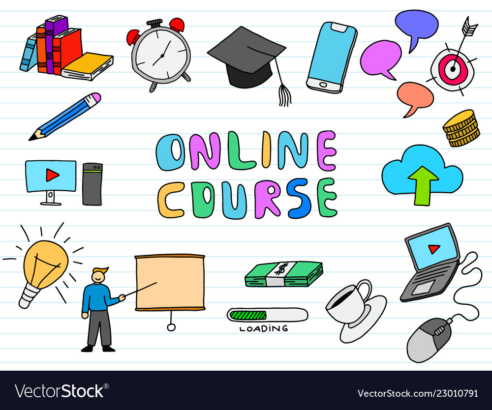 Online course doodle art with paper background
