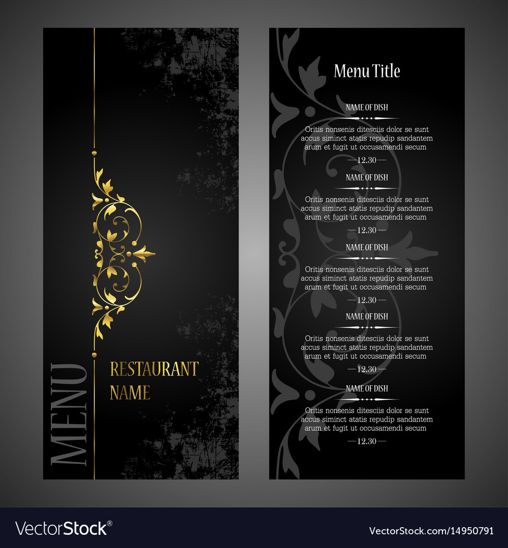restaurant menu design template luxury style vector image