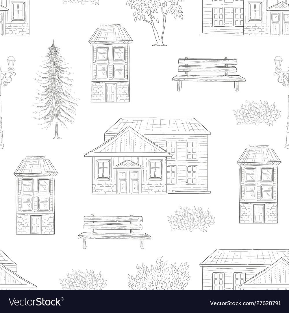 Retro houses fir tree bench seamless pattern