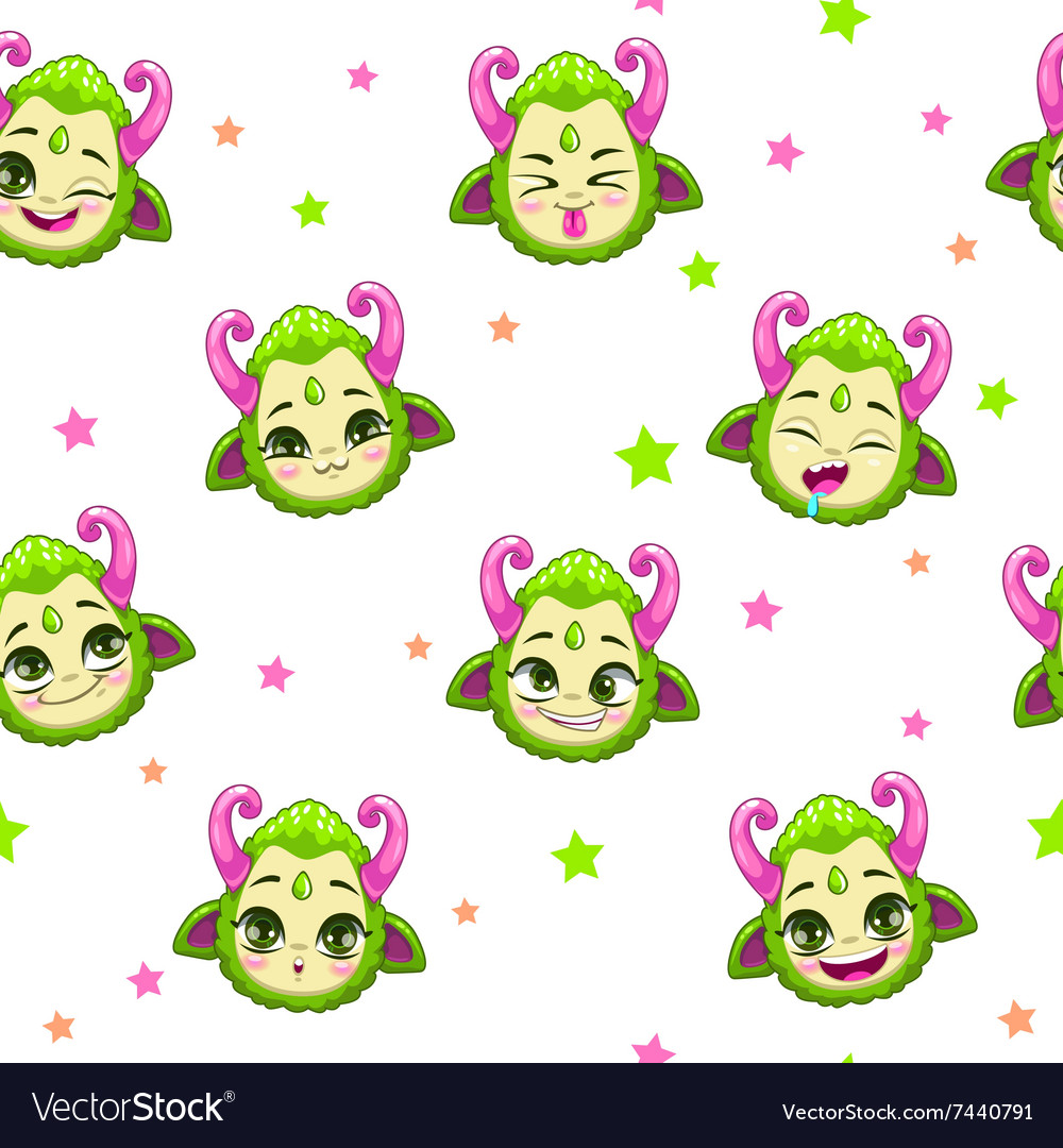 Seamless pattern with cute green monster faces