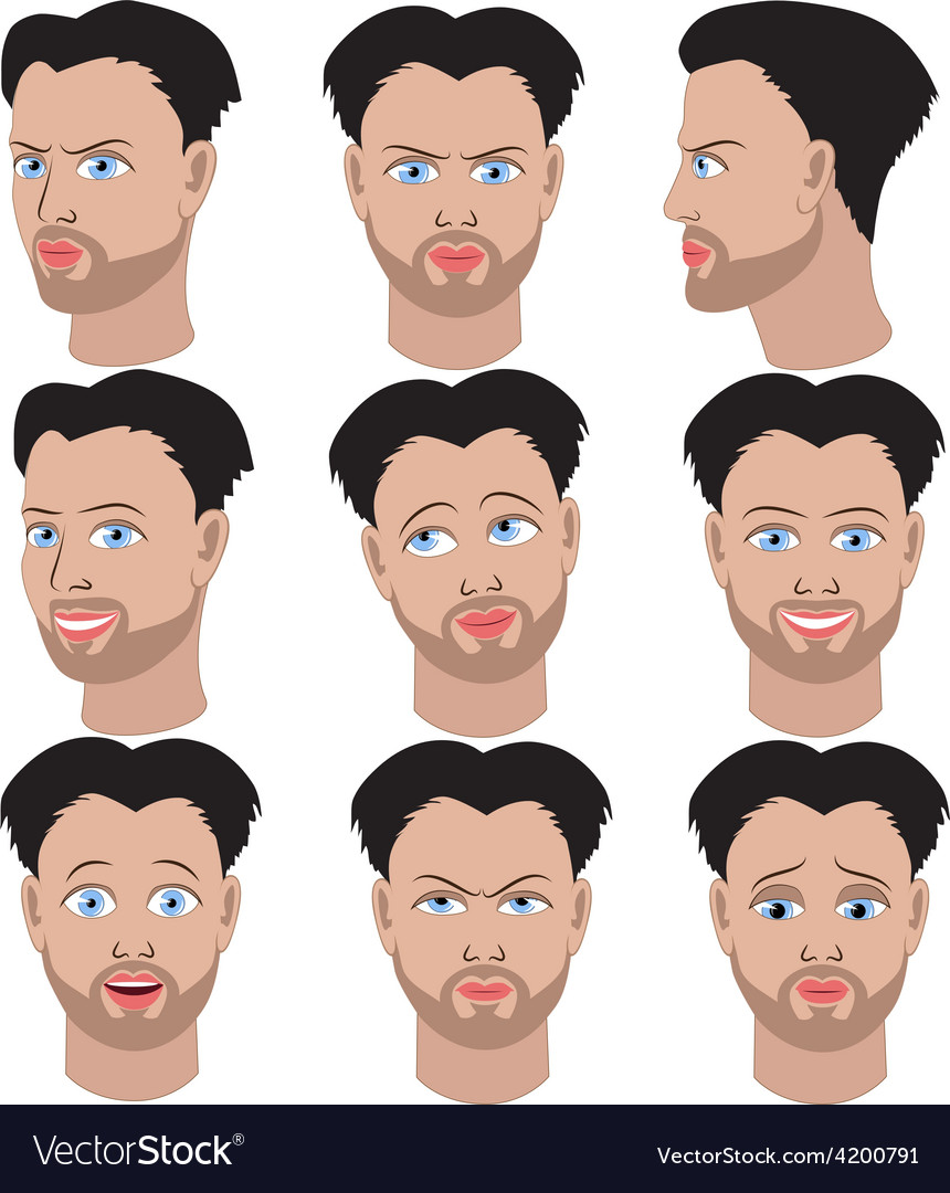 Set of variation of emotions of the same man vector image