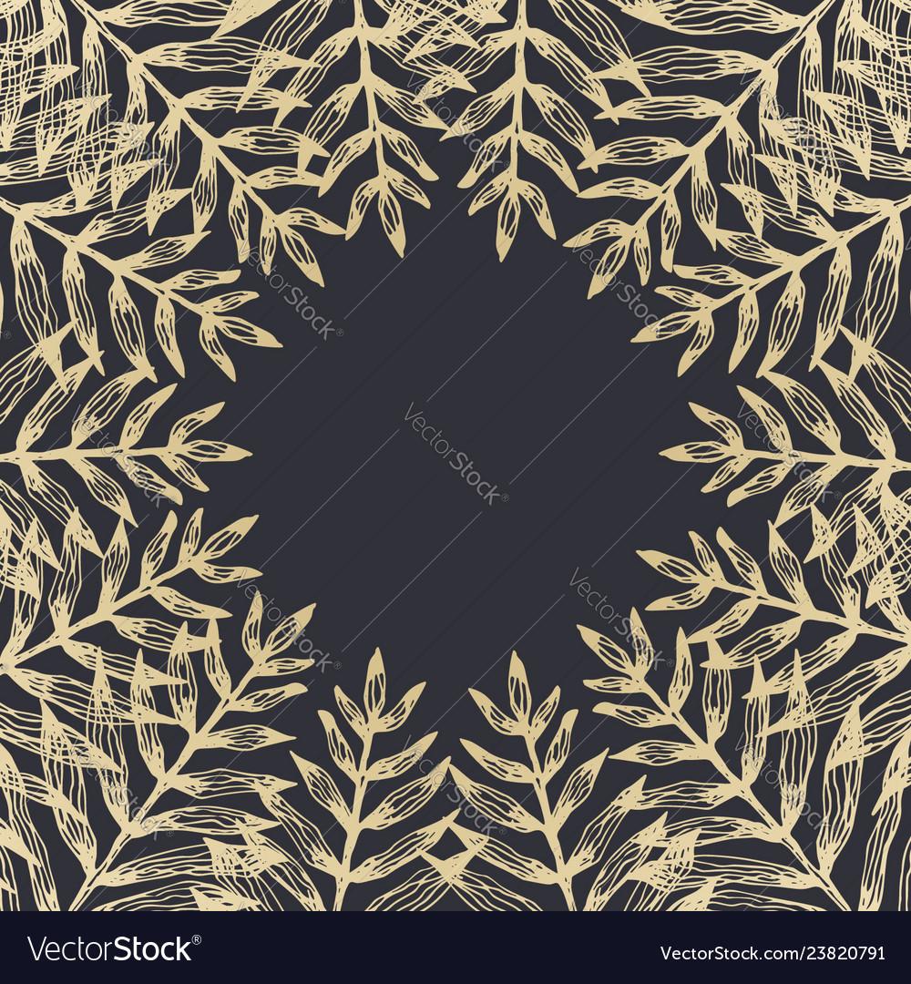 Square frame of golden tropical leaves