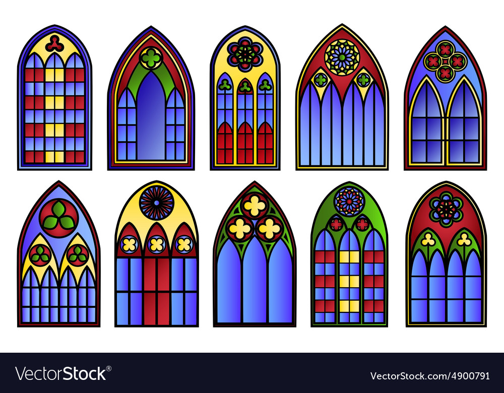 Stained glass windows set