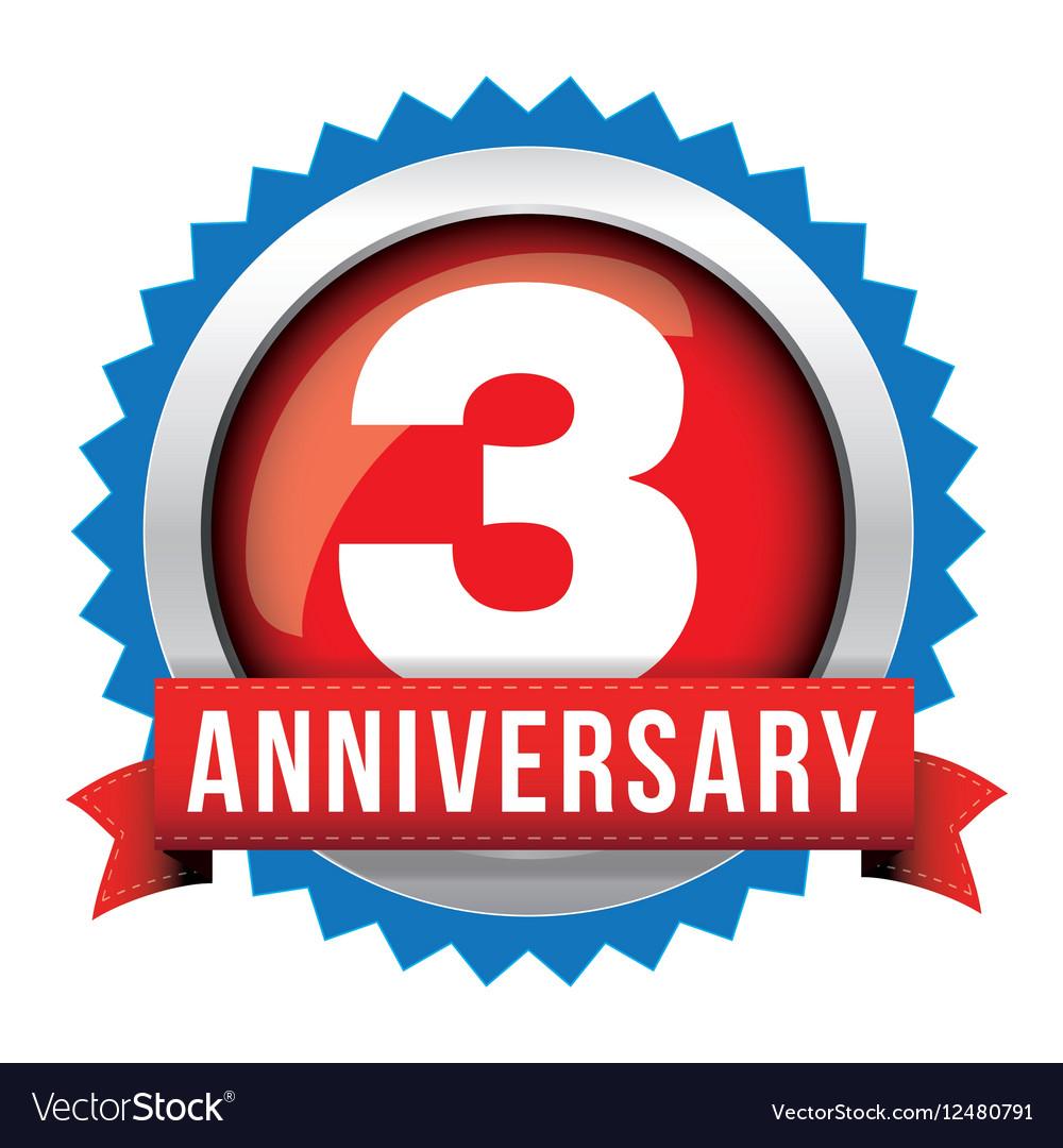 Three years anniversary badge with red ribbon