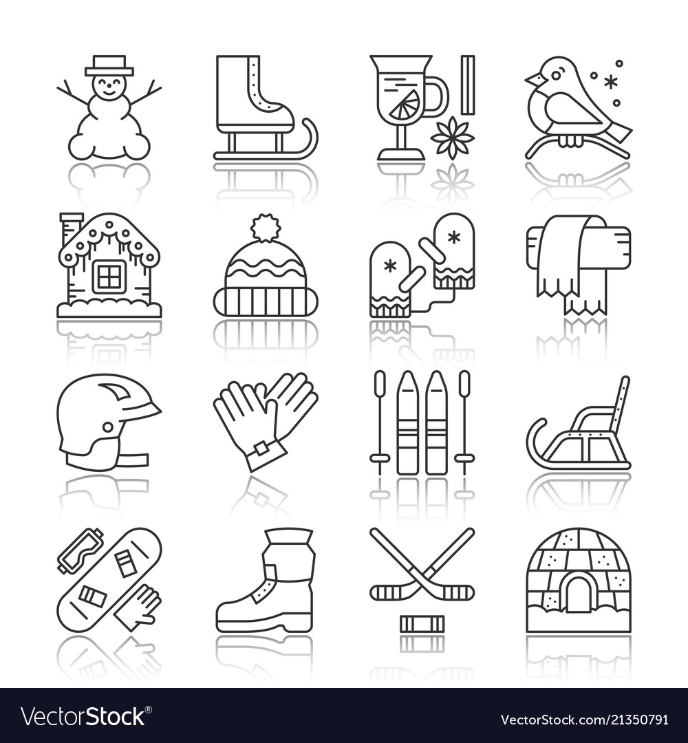 cddc9b7de6c9 Winter sport activity outdoor icon set Royalty Free Vector