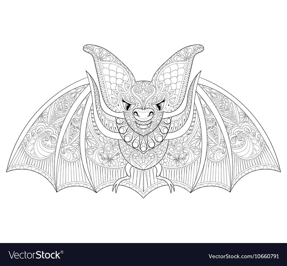 Zentangle Stylized Flying Bat For Halloween Vector Image