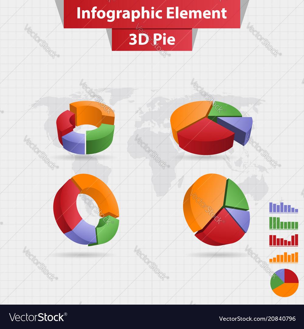 4 different infographic element 3d pie chart vector image
