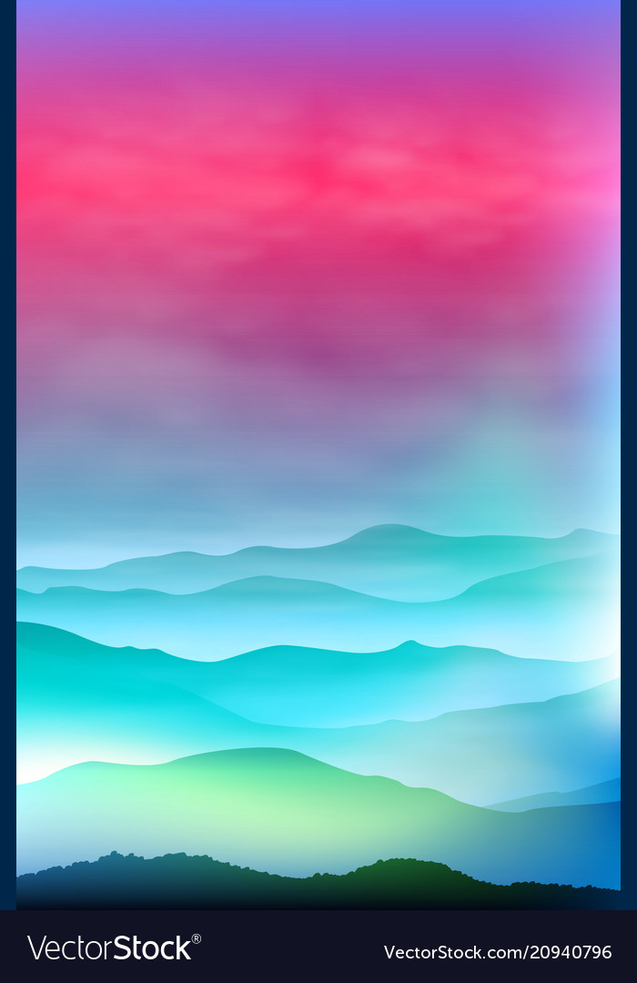 Background with mountains in the fog sunset time vector image