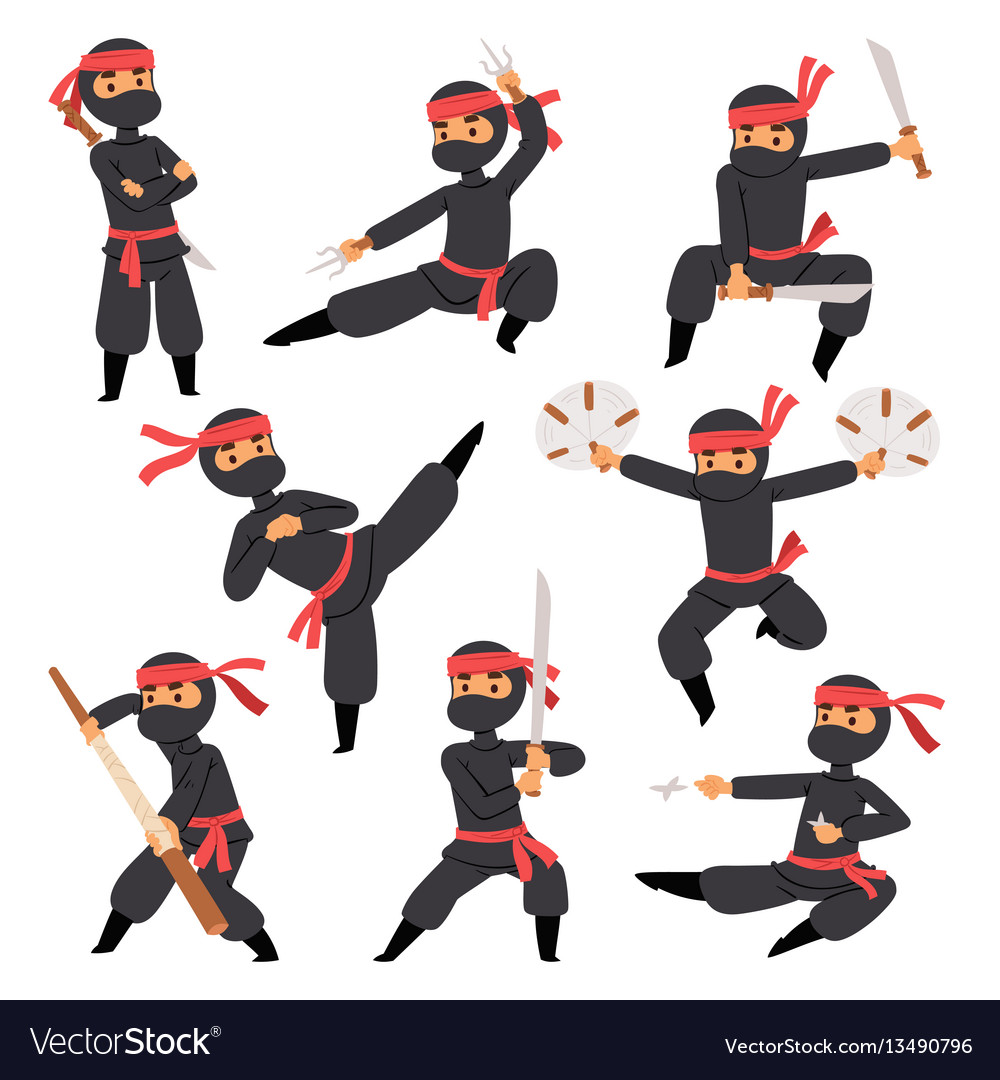 Different poses of ninja fighter in black cloth