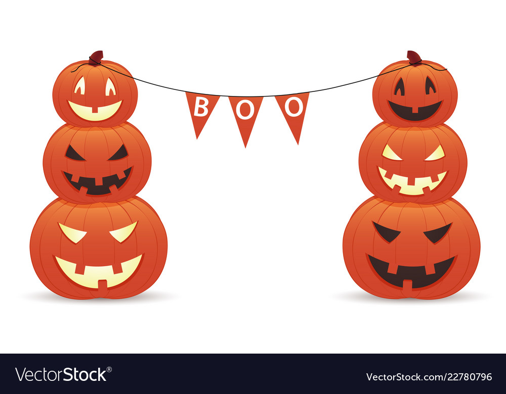 Funny smiling pumpkins with inscription boo