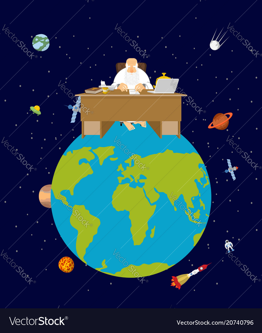 God is boss earth director and desktop planet vector image