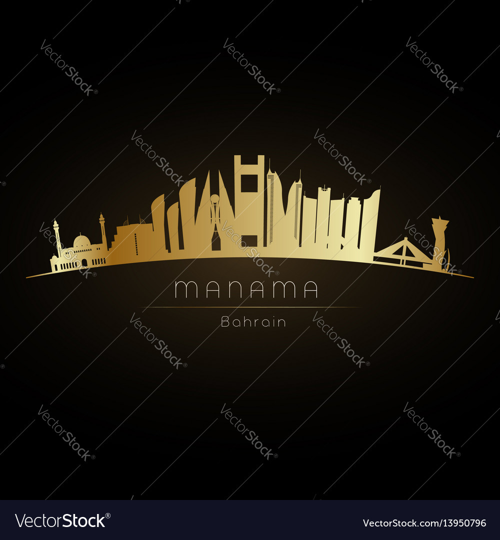 41636f96e955 Golden manama city skyline Royalty Free Vector Image