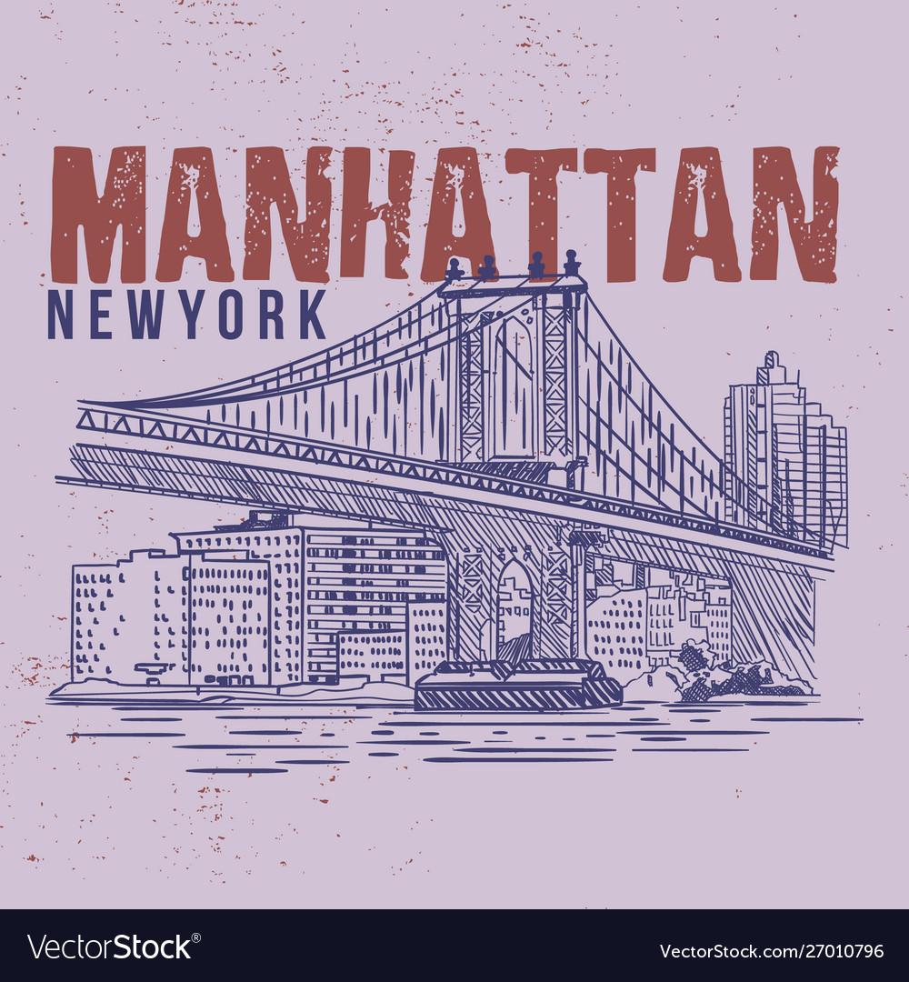 Manhattan new york llustration drawing city