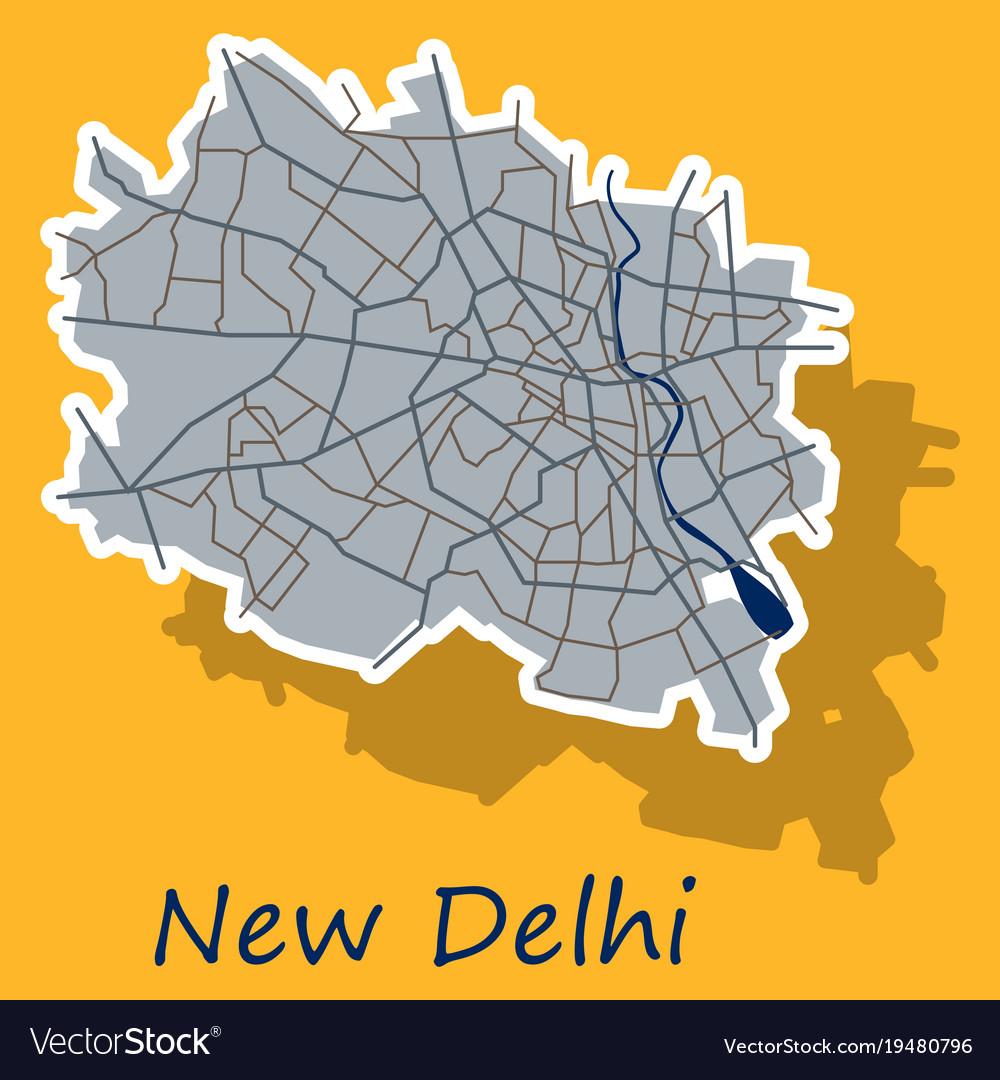 New delhi map sticker style design