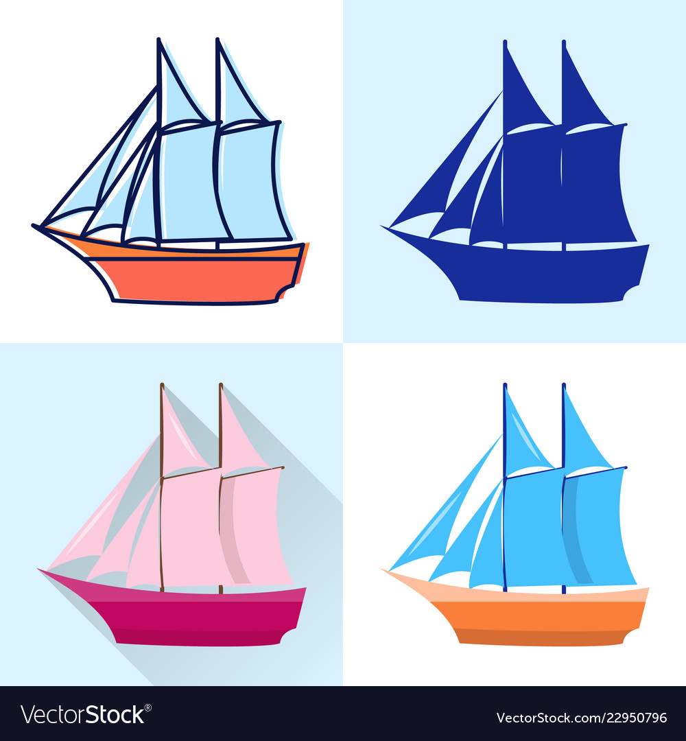 Schooner icon set in flat and line styles