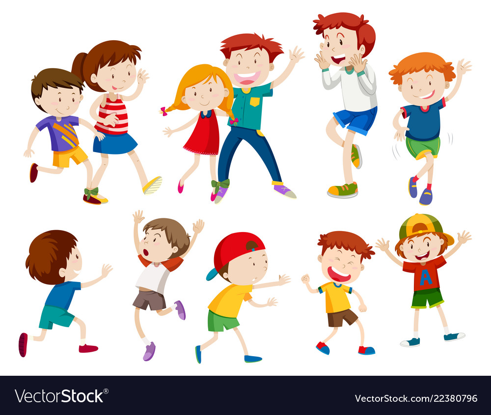 Set of happy children