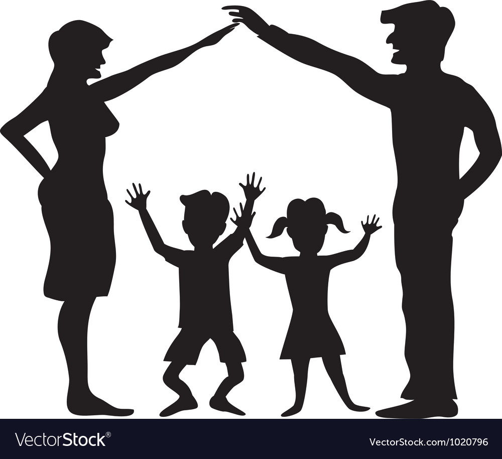 Silhouette Of Family Symbol Royalty Free Vector Image