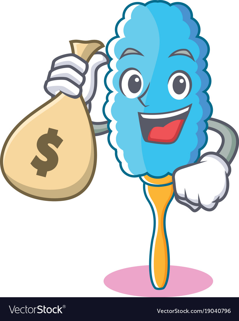 With money bag feather duster character cartoon