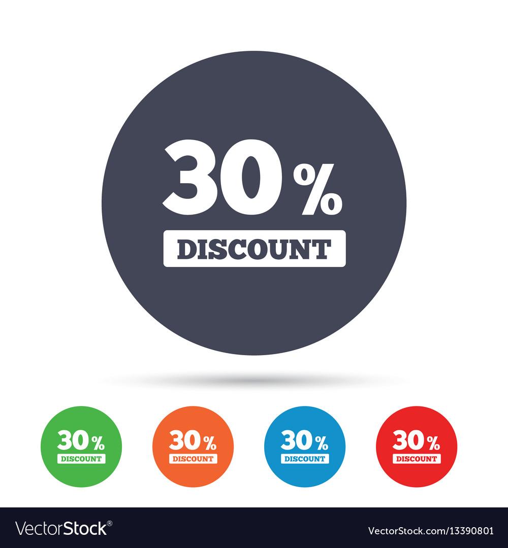 30 percent discount sign icon sale symbol