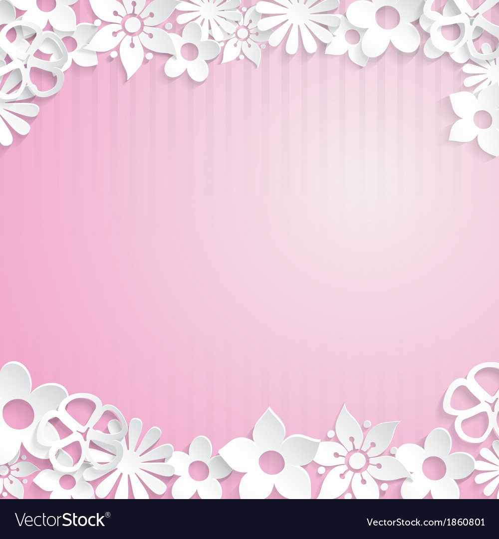 Background With Paper Flowers Royalty Free Vector Image