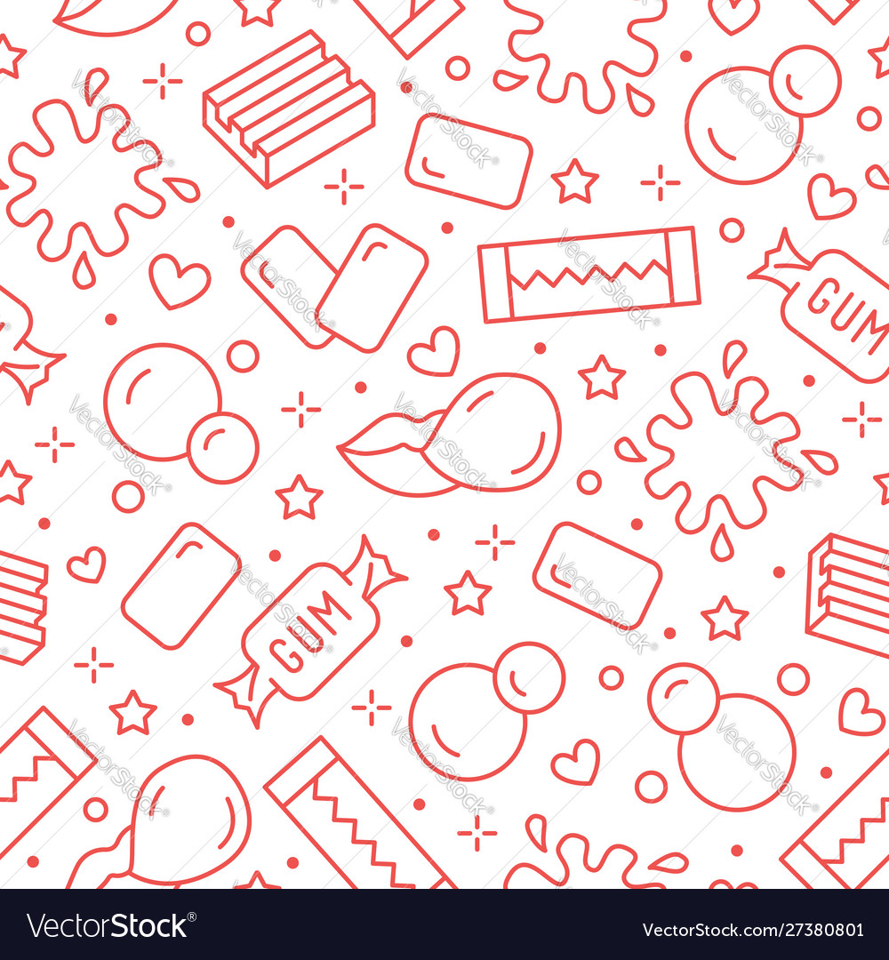 Bubble gum seamless pattern with flat line icons